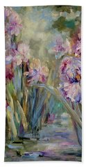 Bath Towel featuring the painting Iris Garden by Mary Wolf