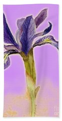 Iris On Lilac Hand Towel by Barbie Corbett-Newmin