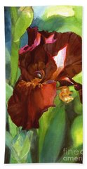 Watercolor Of A Tall Bearded Iris In Sienna Red Bath Towel