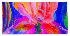 Funky Iris Flower Bath Towel
