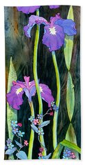 Bath Towel featuring the painting Iris Tall And Slim by Teresa Ascone