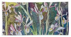 Irises And Doodles Bath Towel