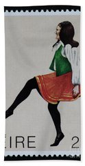 Irish Music And Dance Postage Stamp Print Hand Towel by Andy Prendy