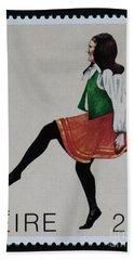 Irish Music And Dance Postage Stamp Print Bath Towel