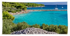 Island Murter Turquoise Lagoon Beach Hand Towel by Brch Photography