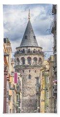 Istanbul Galata Tower Hand Towel by Antony McAulay