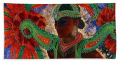 Bath Towel featuring the painting It Looks Like Mardi Gras Time by Margaret Bobb