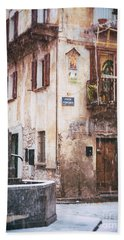 Bath Towel featuring the photograph Italian Square In  Snow by Silvia Ganora