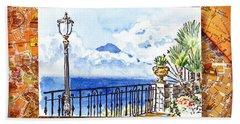 Italy Sketches Sorrento View On Volcano Vesuvius  Bath Towel