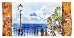 Italy Sketches Sorrento View On Volcano Vesuvius  Bath Towel