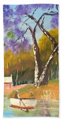 Hand Towel featuring the painting Jacaranda Tree by Pamela  Meredith
