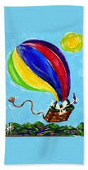 Hand Towel featuring the painting Jack And Charlie Fly Away by Jackie Carpenter