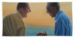 Jack Nicholson And Morgan Freeman Hand Towel by Paul Meijering