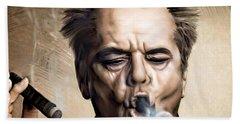 Jack Nicholson Hand Towel by Andrzej Szczerski