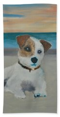 Jack On The Beach Bath Towel by Kristen R Kennedy