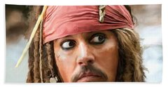 Jack Sparrow Hand Towel by Paul Tagliamonte