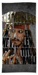 Jack Sparrow Quote Portrait Typography Artwork Hand Towel by Georgeta Blanaru