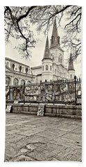 Jackson Square Winter Sepia Bath Towel