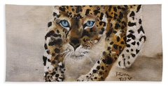 Bath Towel featuring the painting Big Cat Stalk by Barbie Batson