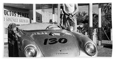 James Dean Filling His Spyder With Gas Black And White Bath Towel by Doc Braham