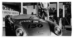 James Dean Filling His Spyder With Gas In Black And White Bath Towel by Doc Braham