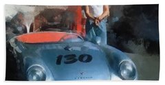 James Dean With His Spyder Hand Towel by Paulette B Wright