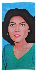 Hand Towel featuring the painting Jasmina by Cyril Maza