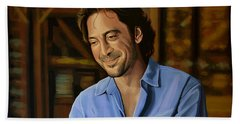 Javier Bardem Painting Hand Towel by Paul Meijering