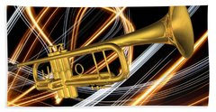Jazz Art Trumpet Bath Towel