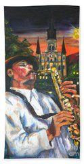Jazz By Street Lamp Hand Towel