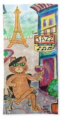 Hand Towel featuring the painting Jazz Cat by Diane Pape