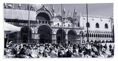 Jazz In Piazza San Marco Black And White  Bath Towel