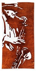 Jazz Saxofon Player Coffee Painting Hand Towel