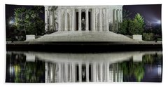 Jefferson Memorial - Night Reflection Hand Towel