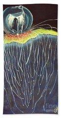Bath Towel featuring the painting Jellyfish.. by Jolanta Anna Karolska