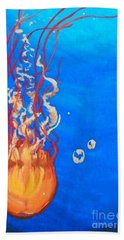 Hand Towel featuring the painting Jellyfish by Marisela Mungia