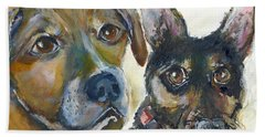 Hand Towel featuring the painting Jena And Dozer  by Bernadette Krupa