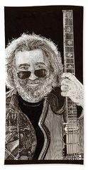 Jerry Garcia String Beard Gutaire Bath Towel by Jack Pumphrey