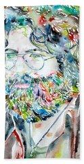 Jerry Garcia Watercolor Portrait.2 Bath Towel