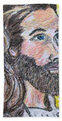 Hand Towel featuring the painting Jesus Christ by Kathy Marrs Chandler