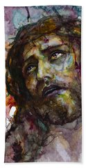 Bath Towel featuring the painting Jesus Christ by Laur Iduc