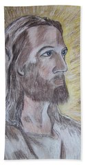 Hand Towel featuring the painting Jesus by Kathy Marrs Chandler
