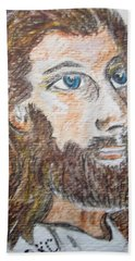 Hand Towel featuring the painting Jesus Our Saviour by Kathy Marrs Chandler