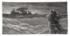 Jesus Walking On The Sea John 6 19 21 Hand Towel