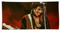 Jimi Hendrix Painting Bath Towel