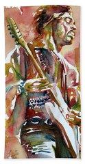 Jimi Hendrix Playing The Guitar Portrait.3 Bath Towel