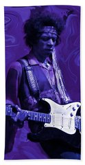 Jimi Hendrix Purple Haze Hand Towel by David Dehner
