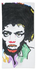 Hand Towel featuring the painting Jimi Hendrix by Stormm Bradshaw