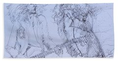 Jimmy Page And Robert Plant Live Concert-pen Portrait Hand Towel by Fabrizio Cassetta