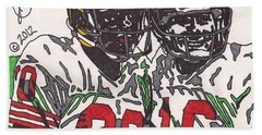Joe Montana And Jerry Rice Hand Towel by Jeremiah Colley